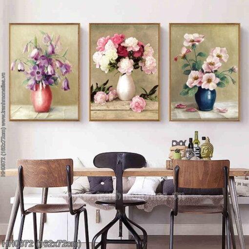 HH0872 Tranh Bình hoa nghệ thuật (3 bức) thêu kín kích thước lớn
