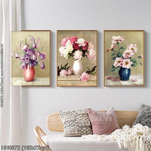 HH0872 Tranh thêu chữ thập Nghệ thuật cắm hoa kích thước lớn
