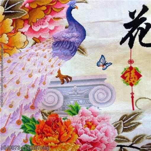 HH0873 Tranh Hoa Khai Phú Quý thêu kín kích thước trung bình