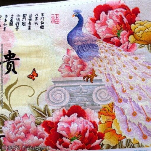HH0873 Tranh thêu chữ thập Chim công Vọng Nguyệt kích thước trung bình