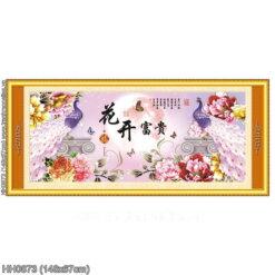 HH0873 Tranh thêu chữ thập Hoa Khai Phú Quý kích thước trung bình 148x67cm
