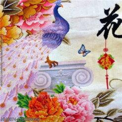 HH0874 Tranh chữ thập thêu kín Hoa Khai Phú Quý khổ lớn