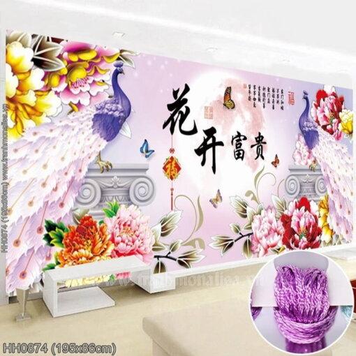 HH0874 Tranh thêu chữ thập Hoa Khai Phú Quý kích thước lớn 195x86cm