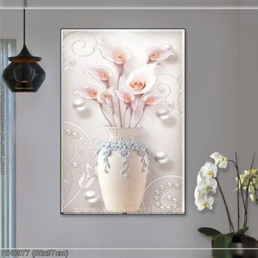 HH0877 Tranh Bình hoa Ly nghệ thuật thêu kín kích thước nhỏ