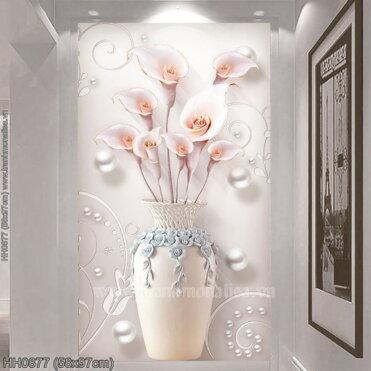 HH0877 Tranh thêu chữ thập Bình hoa Ly nghệ thuật kích thước nhỏ 58x97cm