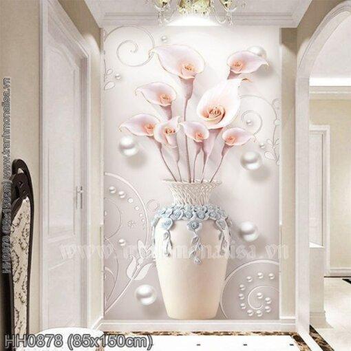 HH0878 Tranh Bình hoa Ly nghệ thuật thêu kín kích thước lớn
