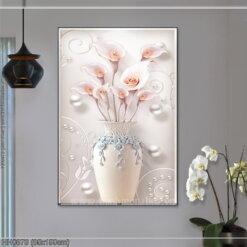HH0878 Tranh chữ thập thêu kín Bình hoa Ly nghệ thuật khổ lớn