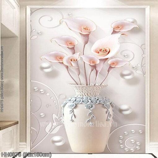 HH0878 Tranh thêu chữ thập Bình hoa Ly nghệ thuật kích thước lớn 85x150cm