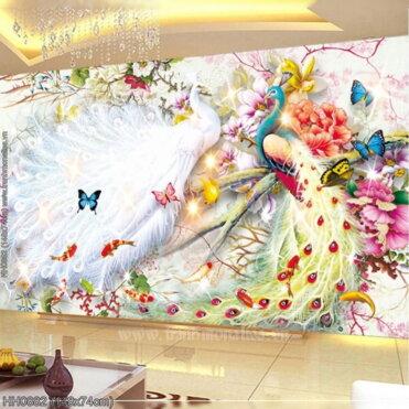 HH0882 Tranh Hoa Khai Phú Quý thêu kín kích thước trung bình
