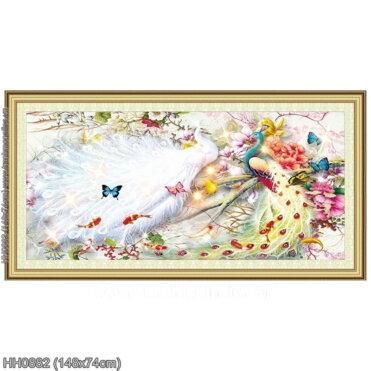 HH0882 Tranh thêu chữ thập Hoa Khai Phú Quý kích thước trung bình 148x74cm