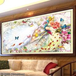 HH0883 Tranh Hoa Khai Phú Quý thêu kín kích thước lớn