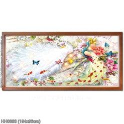 HH0883 Tranh thêu chữ thập Hoa Khai Phú Quý kích thước lớn 194x96cm