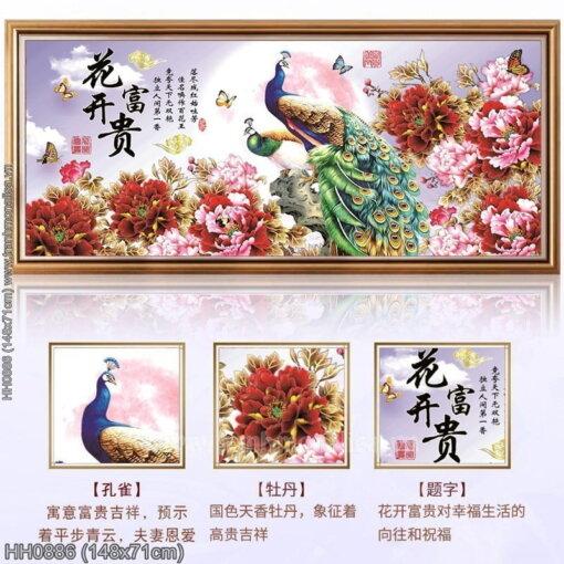 HH0886 Tranh chữ thập thêu kín Hoa Khai Phú Quý khổ trung bình