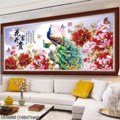 HH0886 Tranh Hoa Khai Phú Quý thêu kín kích thước trung bình