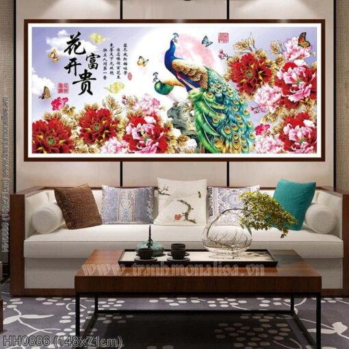 HH0886 Tranh thêu chữ thập Hoa Khai Phú Quý kích thước trung bình 148x71cm