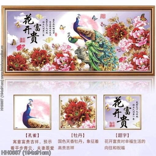 HH0887 Tranh Hoa Khai Phú Quý thêu kín kích thước lớn