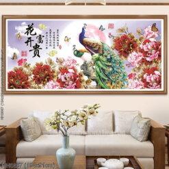 HH0887 Tranh thêu chữ thập Hoa Khai Phú Quý kích thước lớn 194x91cm