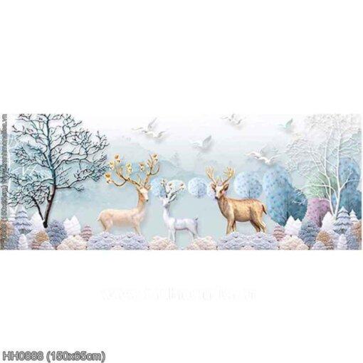 HH0888 Tranh Hươu tuyết thêu kín kích thước trung bình