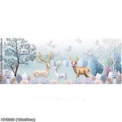 HH0889 Tranh chữ thập thêu kín Hươu tuyết khổ lớn