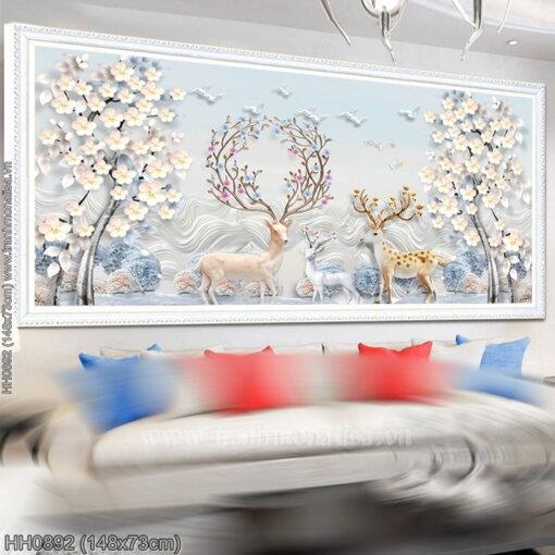 HH0892 Tranh Hươu tuyết thêu kín kích thước trung bình