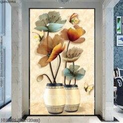 HH0901 Tranh thêu chữ thập Hai bình hoa cách điệu kích thước trung bình 63x120cm