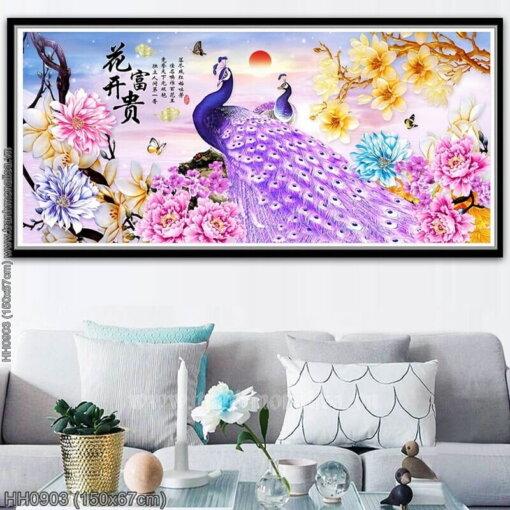 HH0903 Tranh thêu chữ thập Hoa Khai Phú Quý kích thước trung bình 150x67cm