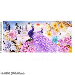 HH0904 Tranh chữ thập thêu kín Hoa Khai Phú Quý khổ lớn