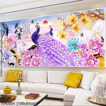 HH0904 Tranh Hoa Khai Phú Quý thêu kín kích thước lớn