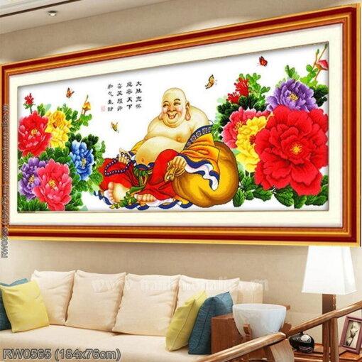RW0565 Tranh thêu chữ thập Phật Di Lặc kích thước lớn