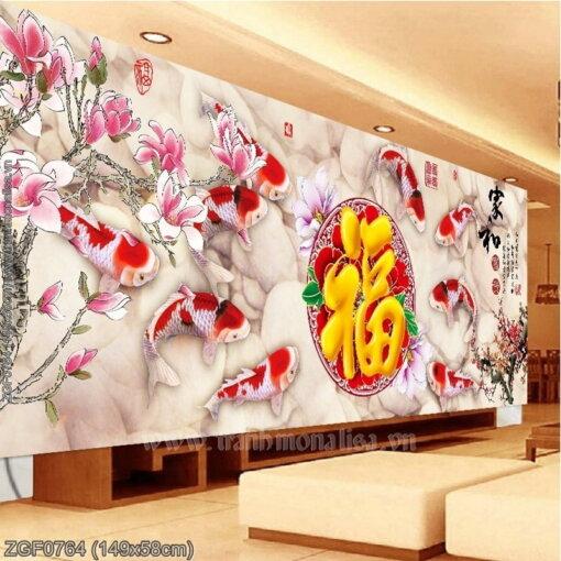 ZGF0764 Tranh thêu chữ thập Gia hòa Phú Quý kích thước trung bình
