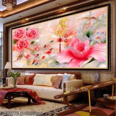 ZGF0775 Tranh thêu chữ thập Cửu ngư hoa hồng kích thước lớn