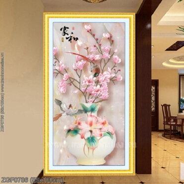 ZGF0786 Tranh thêu chữ thập Bình hoa nghệ thuật kích thước nhỏ