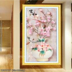 ZGF0787 Tranh thêu chữ thập Bình hoa nghệ thuật kích thước trung bình