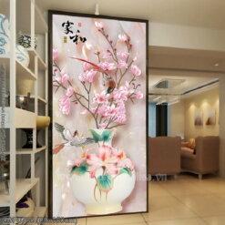 ZGF0788 Tranh thêu chữ thập Bình hoa nghệ thuật kích thước lớn