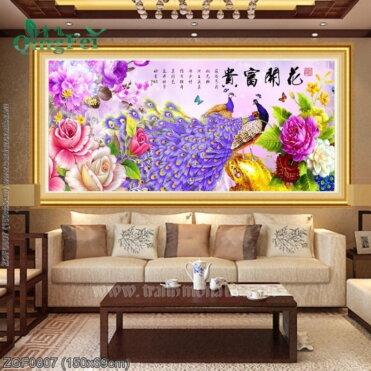 ZGF0807 Tranh chữ thập thêu kín Hoa Khai Phú Quý khổ trung bình