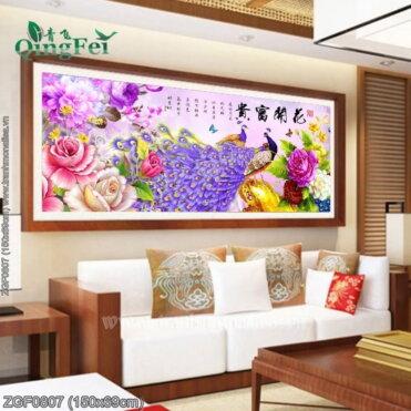ZGF0807 Tranh Hoa Khai Phú Quý thêu kín kích thước trung bình