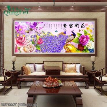 ZGF0807 Tranh thêu chữ thập Hoa Khai Phú Quý kích thước trung bình 150x69cm