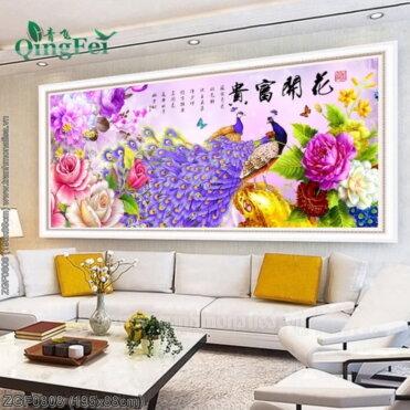 ZGF0808 Tranh Hoa Khai Phú Quý thêu kín kích thước lớn