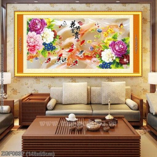 ZGF0837 Tranh thêu chữ thập Hoa Khai Phú Quý kích thước trung bình 148x69cm
