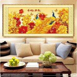 MN0047 Tranh thêu chữ thập Hoa khai phú quý kích thước trung bình 150x63 cm