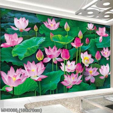 MN0088 Tranh thêu chữ thập Đầm hoa Sen kích thước trung bình 150x70 cm