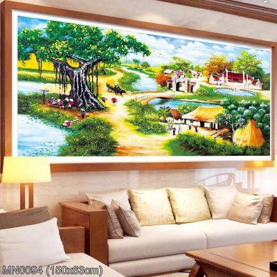 MN0094 Tranh thêu chữ thập Làng quê Việt Nam kích thước trung bình 150x63 cm