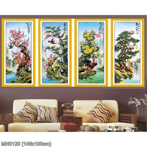 MN0120 Tranh thêu chữ thập Tứ quý Xuân Hạ Thu Đông kích thước lớn 146x100 cm