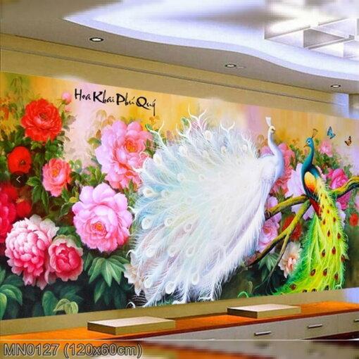 MN0127 Tranh thêu chữ thập Hoa khai phú quý kích thước trung bình 120x60 cm