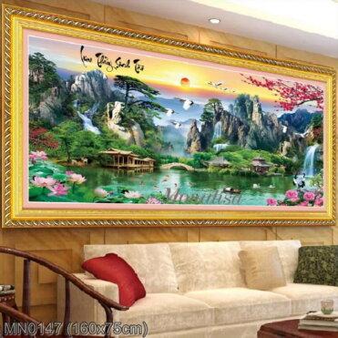 MN0147 Tranh thêu chữ thập Lưu thủy sinh tài kích thước lớn 160x75 cm