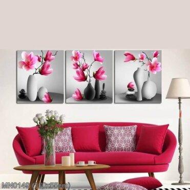 MN0149 Tranh thêu chữ thập Hoa lan 3 bức kích thước trung bình 150x55 cm
