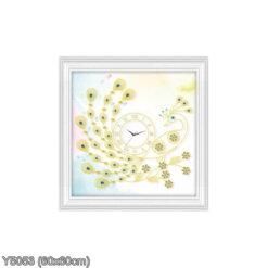Y5053 Tranh đính đá Đồng hồ con công màu vàng kích thước siêu nhỏ 60x60 cm