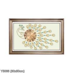 Y5066 Tranh đính đá Đồng hồ con công màu vàng kích thước siêu nhỏ 80x50 cm