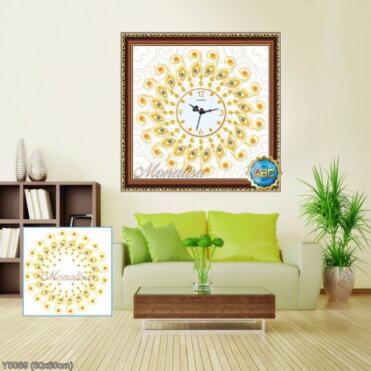 Y5069 Tranh đính đá Đồng hồ họa tiết lông con công màu vàng kích thước siêu nhỏ 60x60 cm