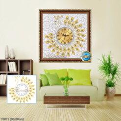 Y5071 Tranh đính đá Đồng hồ con công màu vàng kích thước siêu nhỏ 60x60 cm